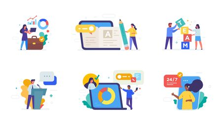 People use gadgets. set of icons, illustration. Smartphones tablets user interface social media.Flat illustration Icons infographics. Landing page site print poster. Eps vector. Ilustração