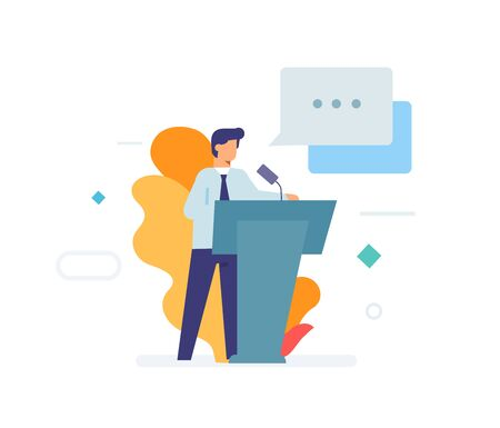 Speaker makes a speech, stands behind the podium. icon, illustration. Smartphones tablets user interface social media.Flat illustration Icons infographics. Landing page site print poster.