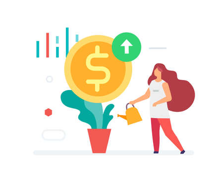 girl watering a flower, dollars are growing icon. Flat illustration Icons infographics. Landing page site print poster. Eps vector. Ilustração