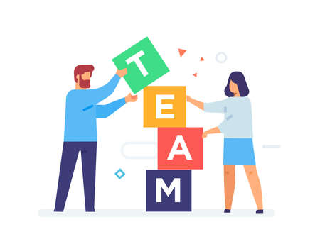 people stack cubes teamwork. Flat illustration Icons infographics. Landing page site print poster. Eps vector.