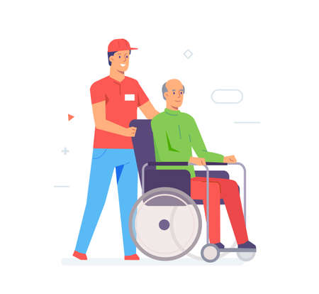Volunteer caring for an elderly disabled person. Activist, policy, volunteer, protest. Flat illustration Icons infographics. Landing page site print poster. Eps vector.