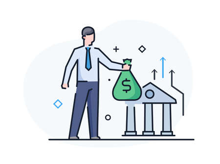 Man brings money to the bank. Business development, milestones, start-up. linear illustration Icons infographics. Landing page site print poster. Line story