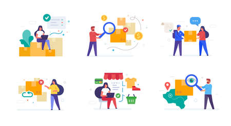 people and parcels set of icons, illustration. Smartphones tablets user interface online shopping. Flat illustration Icons infographics. Landing page site print poster.