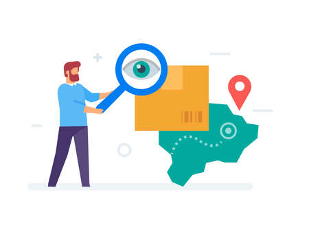 online tracking of goods. Smartphones tablets user interface online shopping. Flat illustration Icons infographics. Landing page site print poster.