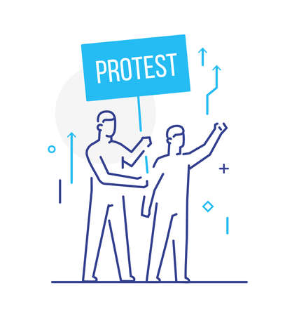 trade union, worker protests. Activist, policy, volunteer, protest. Flat illustration Icons infographics. Landing page site print poster. Eps vector. Ilustração