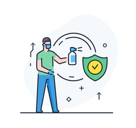 person is disinfecting with an antiseptic illustration. Quarantine, virus, protection, medicine.Flat illustration Icons infographics. Landing page site print poster.