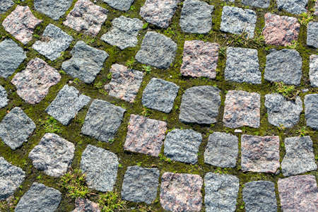 Flat square gray stones mosaic on a green grass. Rugged stones with different form background cut out. Horizontal rocks texture pattern wallpaper. Tiled cobblestones surface. Aged granite structure.