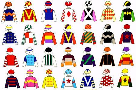 cavallo in corsa: Jockey uniforme disegni. 28 ammenda di colori e disegni originali di vari Jockey uniforme.