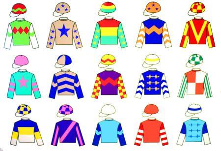 horse competition: Jockey uniform designs. 15 fine and colorful drawings of various original Jockey Uniform. Stock Photo