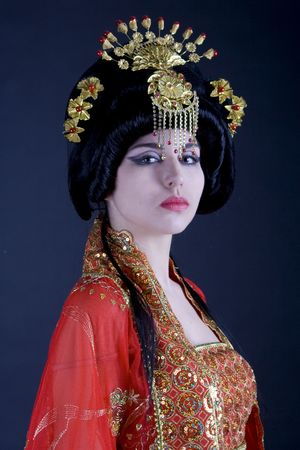 Portrait of a persian princess with a strong dominant look. Majestic atmosphere of a fairy tale.  photo