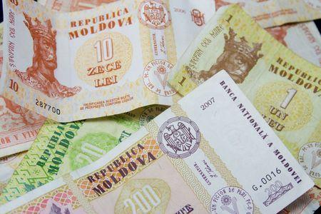 leu: Moldave le banconote di vari tagli. Leu moldavo (MDL) � la moneta nazionale della Repubblica di Moldova.  Archivio Fotografico