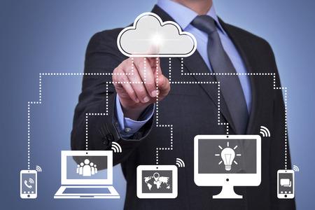 Person presses hologram of cloud computing Standard-Bild