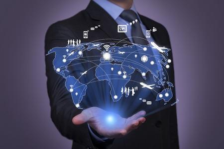 tecnología informatica: Red social y tecnología de la comunicación moderna Foto de archivo