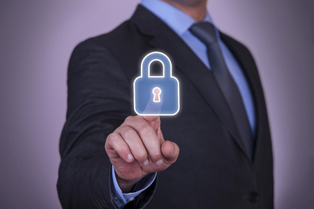 sistema: Touch Screen Seguridad Finger Se�alando candado Icono