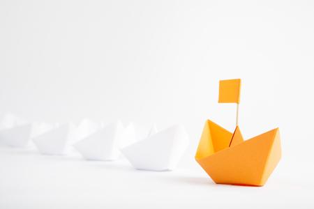 directory: Orange Boat Leadership Concept on White Background