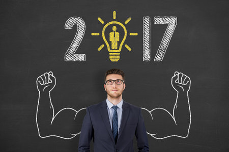 zvýšil: New Year 2017 Idea Recruitment Concepts on over Business Person Chalkboard Background