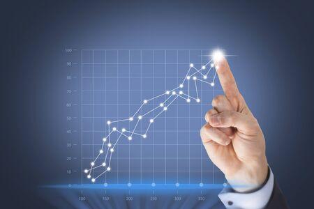 information medium: Success Graph on Visual Screen Stock Photo