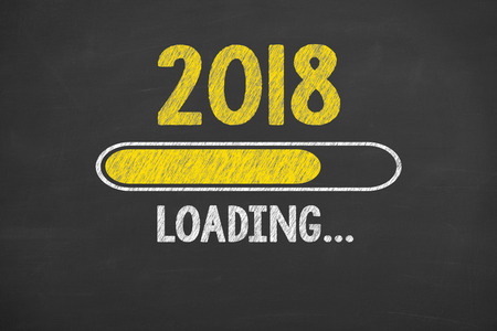 Innovation Technology New Year 2018 on Chalkboard Stok Fotoğraf