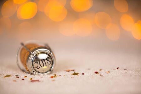 Happy New Year Cork on the Snow Stock Photo