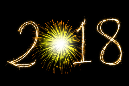 Happy New Year 2018 with Sparklers Stock Photo