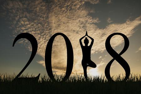 De nieuwe het conceptenvrouw van het jaar 2018 yoga stelt