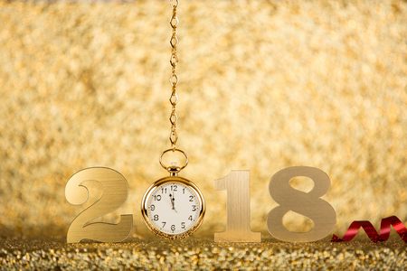 New Year 2018 Concept with Gold Clock