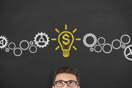 Finance concepts with light bulbs