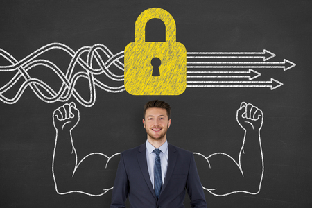 Business People Drawing Security Solution Concepts on Chalkboard