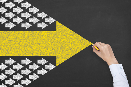 Leadership Concepts on Blackboard Background 写真素材