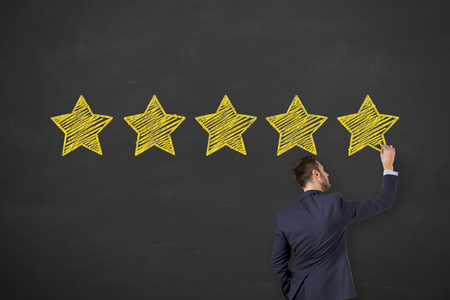 Customer Satisfaction Concepts on Chalkboard Background
