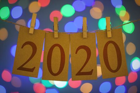 New Year 2020 Concepts Clipped Cards and Lights