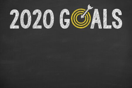New Year 2020 Goals on Blackboard Background
