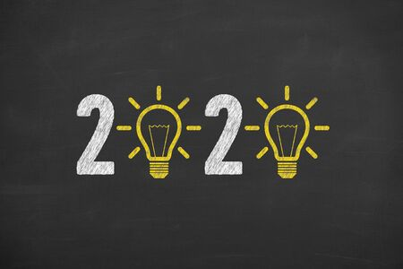 New Year 2020 Idea Concepts on Blackboard Background Stock Photo