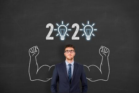 New Year 2020 Innovative Idea Concepts on Blackboard Background Stock Photo
