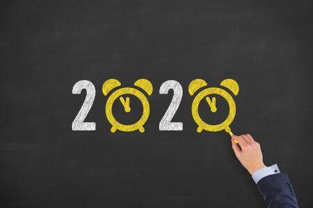 2020 countdown clock on chalkboard background Archivio Fotografico - 130392493