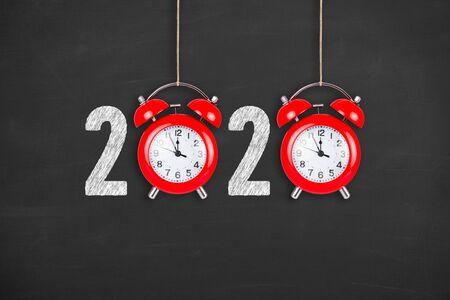 2020 countdown clock on chalkboard background