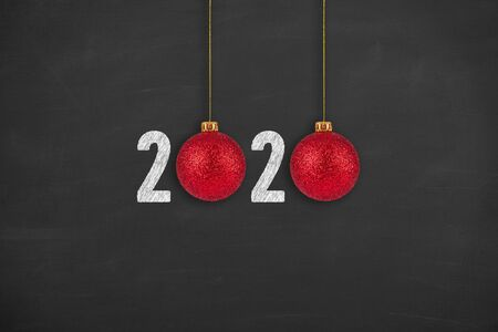 New year concepts 2020 on chalkboard background