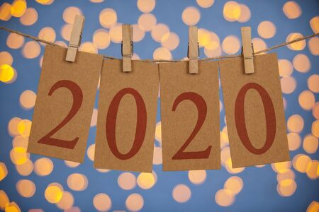 Happy New Year 2020 Concepts Clipped Cards and Lights