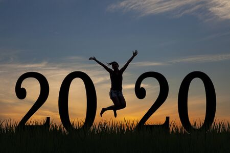 Silhouette young woman happy for 2020 new year