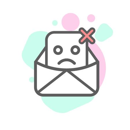 delivered: not delivered emoji emoticon face in email with a lot of variation. Modern flat icons design.