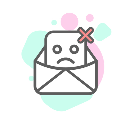 not delivered emoji emoticon face in email with a lot of variation. Modern flat icons design.