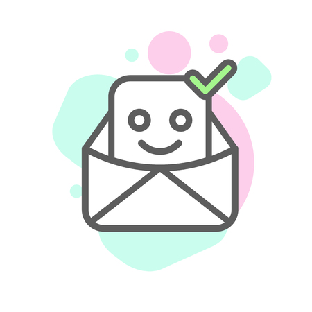 delivered: delivered emoji emoticon face in email with a lot of variation. Modern flat icon design.