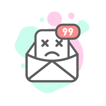 disappoint emoji emoticon face in email with a lot of variation. Modern flat icon design.
