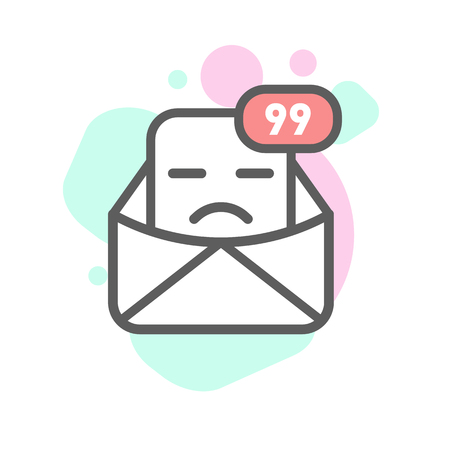 sad emoji emoticon face in email with a lot of variation. Modern flat icon design. Illustration