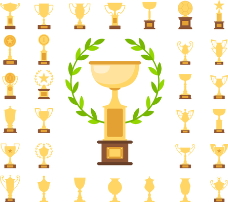 Collection of thirty one gold trophy cups,