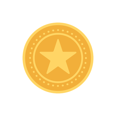 Vector gold medal with relief detail of star and reflections conceptual. Illustration