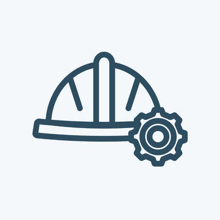 Industrial construction helmet or hat with gear linear icon Illusztráció