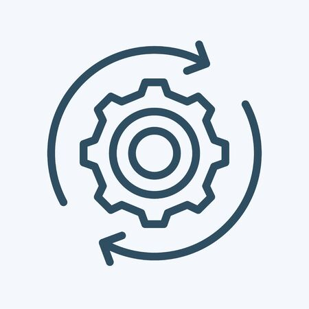 Gear wheel with arrow line icon for web, mobile and infographics. Vector dark grey icon isolated on light grey background. Vektorové ilustrace