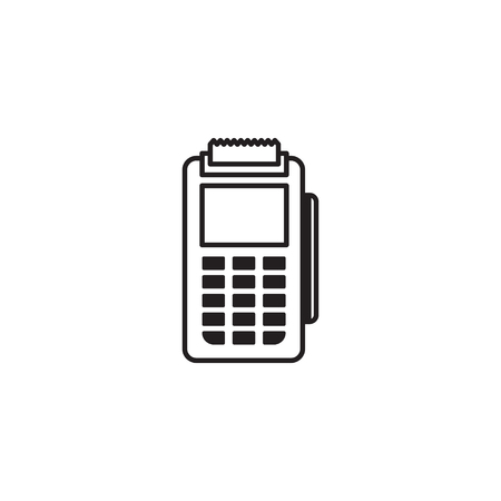 Simple Line Icon of Payment Machine and Debit Credit Card Invoice. POS terminal and NFC payment sign. Illusztráció