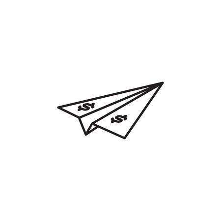 Simple line icon of paper bill dollar plane